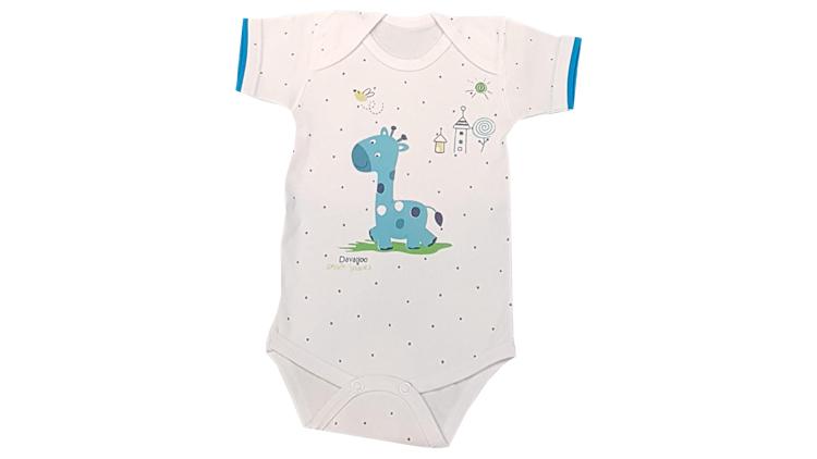 زیر دکمه کوتاه نوزادی طرح زرافه و فیل , پوشاک بچهگانه