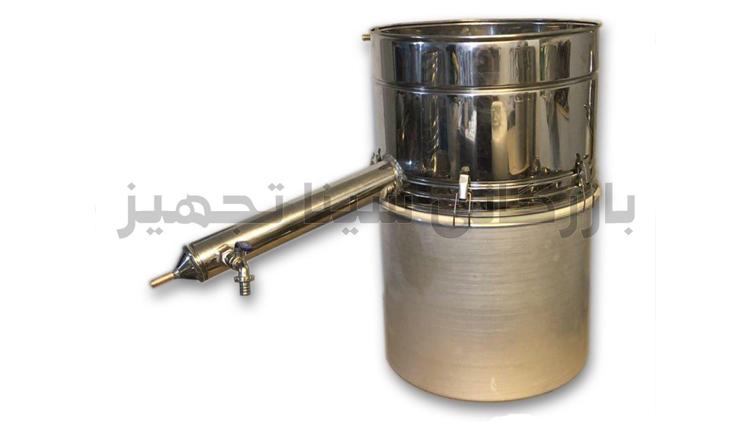 دستگاه عرق گیری و گلاب گیری لوله بلند دارای لوله مسی , دستگاه تقطیر عرقیات گیاهی