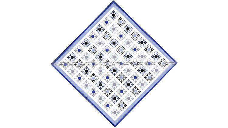 روسری نخی دور دست دوز سبک سازی شده کد 8070413