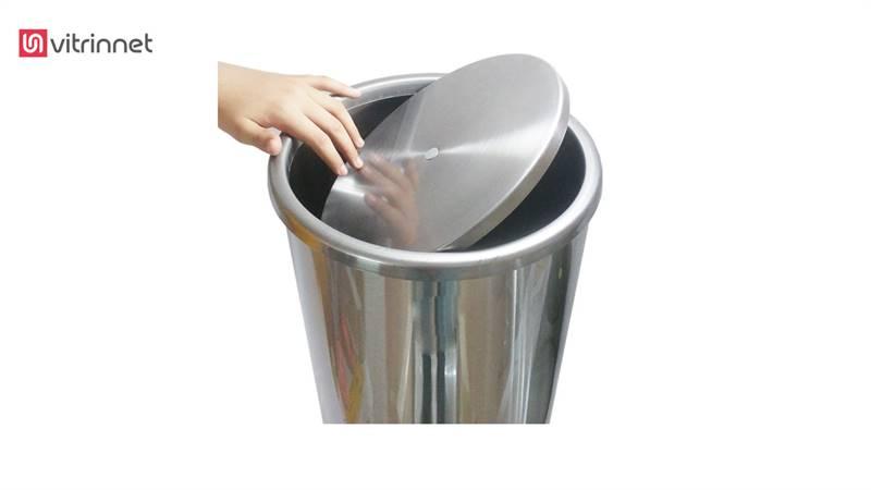 سطل زباله استیل درب بادبزنی