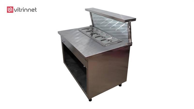 کانتر گرم رومیزی 150 با ترولی گرمخانه و 4لگن