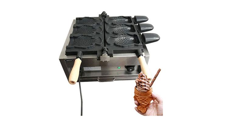 دستگاه وافل ساز ماهی برقی با جای بستنی