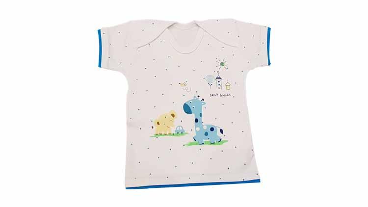 دوبل کوتاه نوزادی طرح زرافه و فیل  , پوشاک بچهگانه