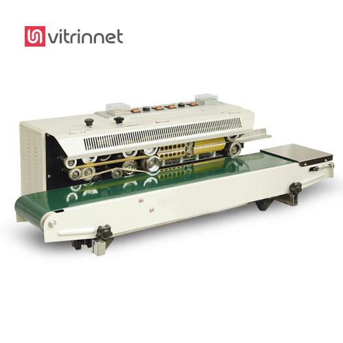 دستگاه دوخت ریلی افقی جهت دوخت درب بسته هایی از جنس لامینت، ترسبافون هم به کار میرود.