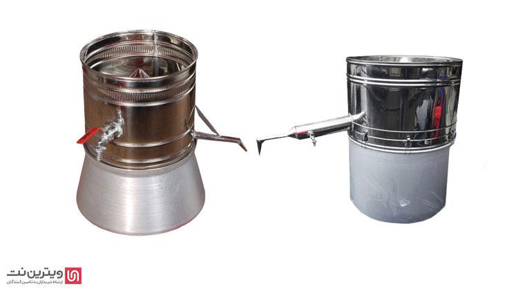 نوع دیگر دستگاه عرق گیری و تقطیر دو جداره است كه لوله بلندی دارد و به دستگاه عرق گیری سرد کن دار معروف است.