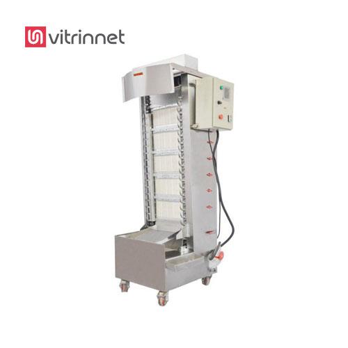 دستگاه کباب پز تابشی اتوماتیک ایستاده  به گونه ایی طراحی شده است که حرارت مشعل های تابشی از بغل و گردش کباب ها حول محور دورانی به سمت پایین میباشد