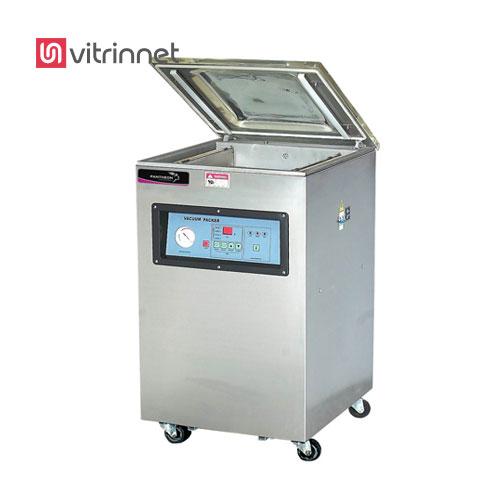 دستگاه وکیوم ایستاده مجهز به کنترل PLC, دارای رله PCB , تزریق گاز ازت بعد از تخلیه هوا , درب دستگاه تهیه شده از مواد ارگانیک , دارای 2 فک جهت دوخت است.