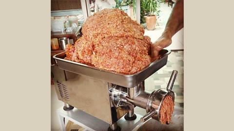 چرخ گوشت رومیزی گیربکسی تمام استیل