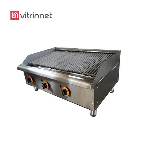 دستگاه گریل ذغالی صنعتی شرکت روماک ماشین برای پخت ملایم مواد غذایی بدون قرار گرفتن در مجاورت حرارت مسقیم شعله گاز می باشد