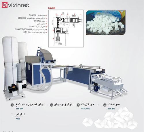 ظرفیت تولید دستگاه قند خرد کن در یک شیفت کاری 5000 کیلوگرم است.