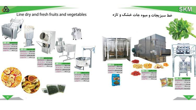 خط فراوری و بسته بندی سبزیجات و میوه جات خشک