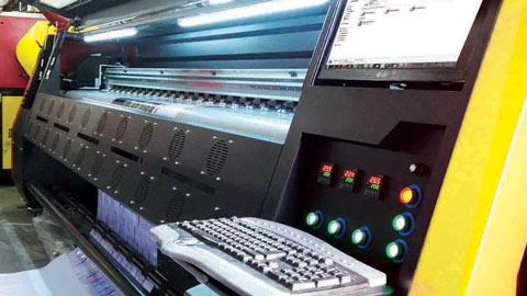 چاپ دستگاه چاپ بنر konica i شرکت شتاب جت با سرعت 300 متر در ساعت , دستگاه چاپ بنر